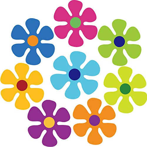 Car Magnet Decorations Magnetic Flower Decals Fridge Magnets 60s Multi-Color Flower Cutout Magnet for Car Home Wall Whiteboard Refrigerator (8, 3.9 x 3.9 Inch)