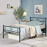YAHEETECH Classic Metal Bed Frame with Headboard and Footboard Flower Design Single Platform Mattress Foundation for Adults Girl Boy,Easy Set Up Structure,Twin Size,Black