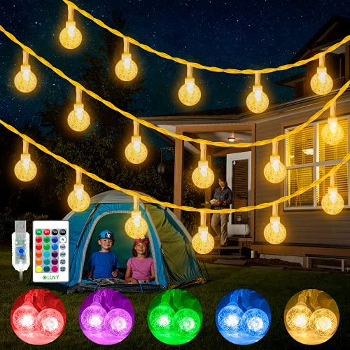 Guirlande Lumineuse Boules, Ollny 15M 100 LED Guirlande Extérieure et Intérieur, 16 Couleurs et 4 modes, USB Guirlande LED avec Télécommande, Lumière Déco pour la Fête, Noël, Mariage, Maison, Jardin