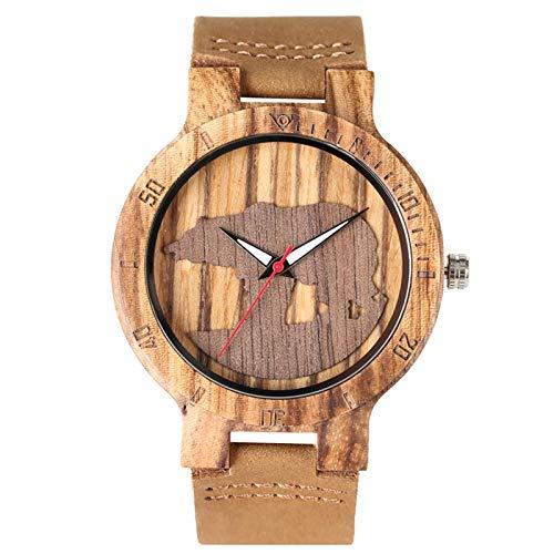 Reloj de Madera para Hombre, Mujer, Reloj de Pulsera de Cuero,marrón
