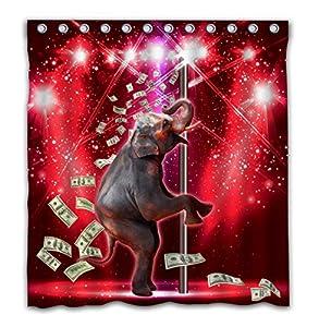 "OTCKOTA Custom Funny Elephant Shower Curtain Elephant Performs Pipe Dance on Stage Kids Bath Curtain Polyester Waterproof Fabric Bathroom Curtain Set with Hooks 66""x72"""