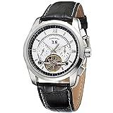 Excellent Reloj Masculino para Hombre Reloj mecánico automático para Hombres Calendario analógico Negocio Reloj de Pulsera Casual con Correa de Cuero Dial Redondo,A04