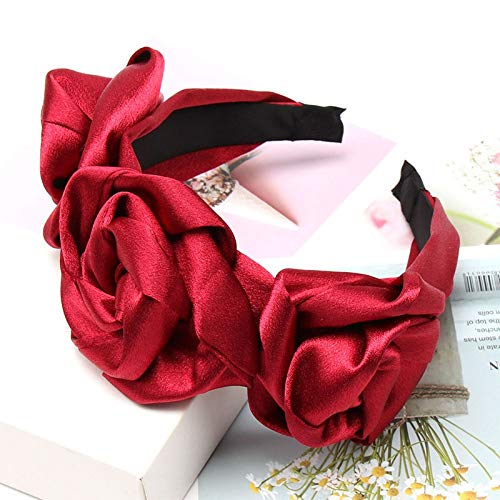 U/D Sygjal Festival de Las Mujeres del Partido Accesorios del Pelo del aro del Pelo de la Gasa Rosa sólido Vendas de la Flor Elegante Novia de Hairbands (Color : Red (Satin), Size : Gratis)