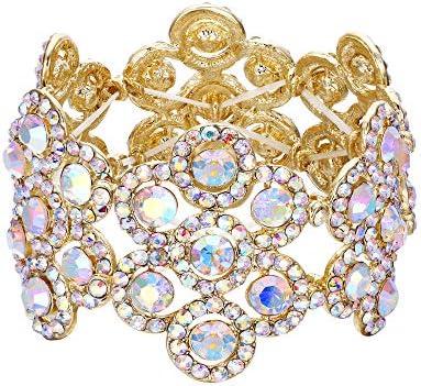 Flyonce Women s Austrian Crystal Elegant Wedding Bridal Flower Stretch Bracelet For Party Gold product image
