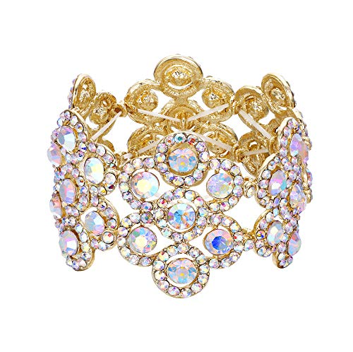EVER FAITH Damen Armband Österreich Kristall Hochzeit Braut Blumen Stretch-Armkette Armreif Schillernder-Klar AB-Gold-Ton