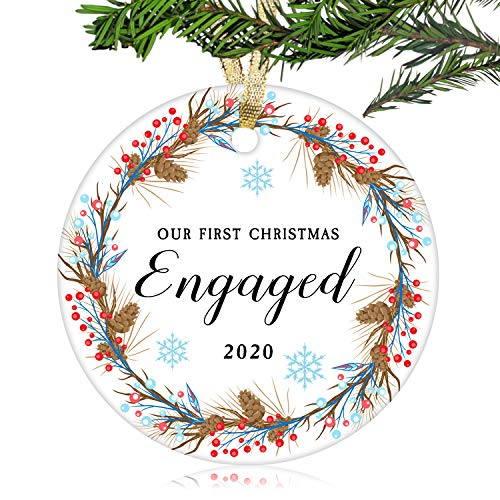 NURIONSS Our First Christmas Engaged Ornaments 2020 - Christmas Wedding Decoration Gift for Couple Newlywed Married - 2.85' Ceramic Ornament(Engaged 10)