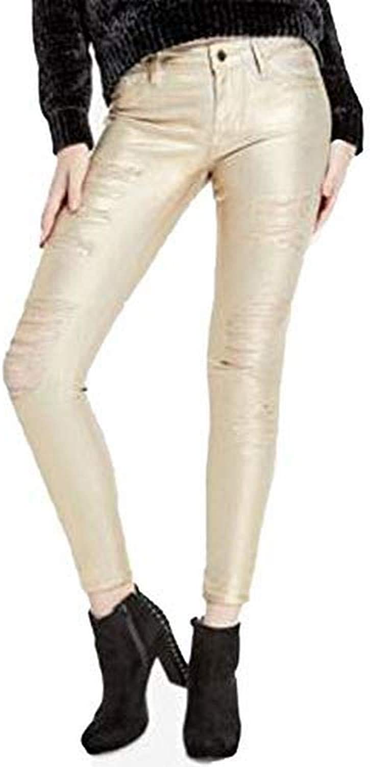 GUESS Women's Black Metallic Silver gold Ripped Skinny Jeans [24]