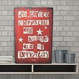 Enkolor/Cuadro Madera con Frases/Vintage/Artesanal a mano/Imposible/Teja/40X60cm
