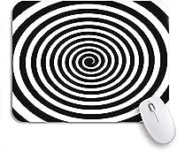 ROSECNY 可愛いマウスパッド サークル黒と白の催眠スパイラル渦サイケデリック体験ノンスリップラバーバッキングマウスパッド、ノートパソコン、マウスマット