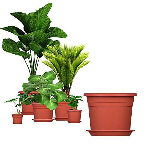 5x Blumentopf 35 cm Farbe Terrakotta & Untersetzer Kunststoff Pflanztopf Containertopf Übertopf Pflanzkübel rund 35 x 25 cm Blumentöpfe