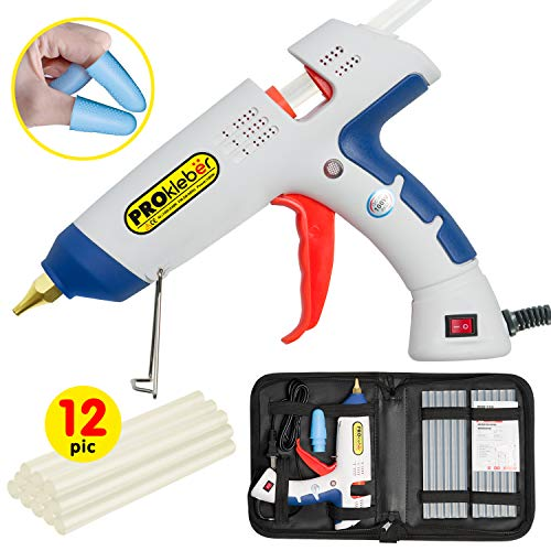 Hot Melt Glue Gun Kit Full Size not Mini 100 Watt with Case, Carry Bag, 12 pcs Glue Sticks, DIY, Arts & Crafts Projects, Sealing, Light/Heavy Duty, Home, Office (White/Blue)