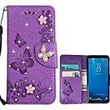 for Samsung Galaxy s7 Edge Case LAPOPNUT Bling Sparkly Diamonds Gems Butterfly Design Premium PU Leather Flip Wallet Case with Card Holder Magnetic Kickstand Cover, Purple