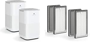 Medify MA-15 Air Purifier with two additional H13 True HEPA replacement Filters | 330 sq ft Coverage | for Smoke, Smokers, Dust, Odors, Pet Dander | Quiet 99.9% Removal to 0.1 Microns | White, 2-Pack