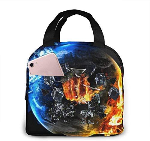 OIVLA Bolsa Térmica Earth Hero Fireman Wrestling Portable Insulated Lunch Bag Workers Students Simple and Elegant Portable Insulation Lunch Bag