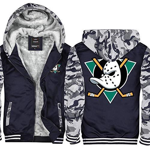 BBSC Herren-Jacken-Strickjacke Ducks Eishockey Jersey Zip Hoodie Warm Langarm-Sweatshirt -Unisexe Zip Camouflage-XXXL