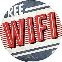 無料WiFiティンサイン ぶら下がっている木製のプラークハウスウェルカムサイン個々の円形レトロアートペインティングとひもプラークレコードペインティング
