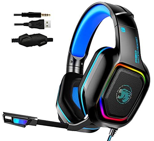 AYMEKOEN A30のゲームヘッドセットは、PS 4、PS 5、Xbox One、PC、ヘッドセットのノイズ分離マイク、RGBフローLEDライト、7.1サラウンドサウンド (青)