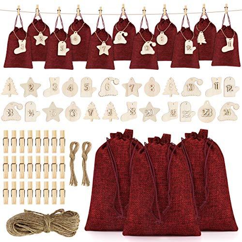 FHzytg 24 Adventskalender zum Befüllen, Groß Jutesäckchen mit 24 Adventszahlen Zahlen Holz Deko Holz-Anhänger für Weihnachten Adventskalender Jutebeutel Stoffbeute Geschenksäckchen zum Befüllen