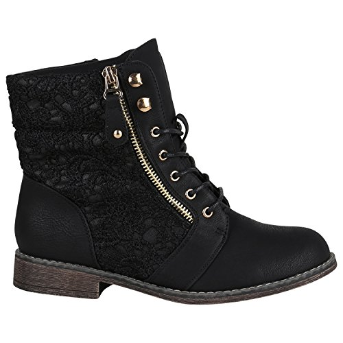 Gefütterte Damen Stiefeletten Worker Boots Zipper Schnürstiefel Schuhe 148835 Schwarz Spitze 39 EU Flandell