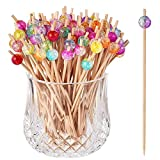 ALINK 100-Pack Cocktail Picks, Colorful Wooden Toothpicks Cocktail Sticks for Party Appetizers - 4.72 inch
