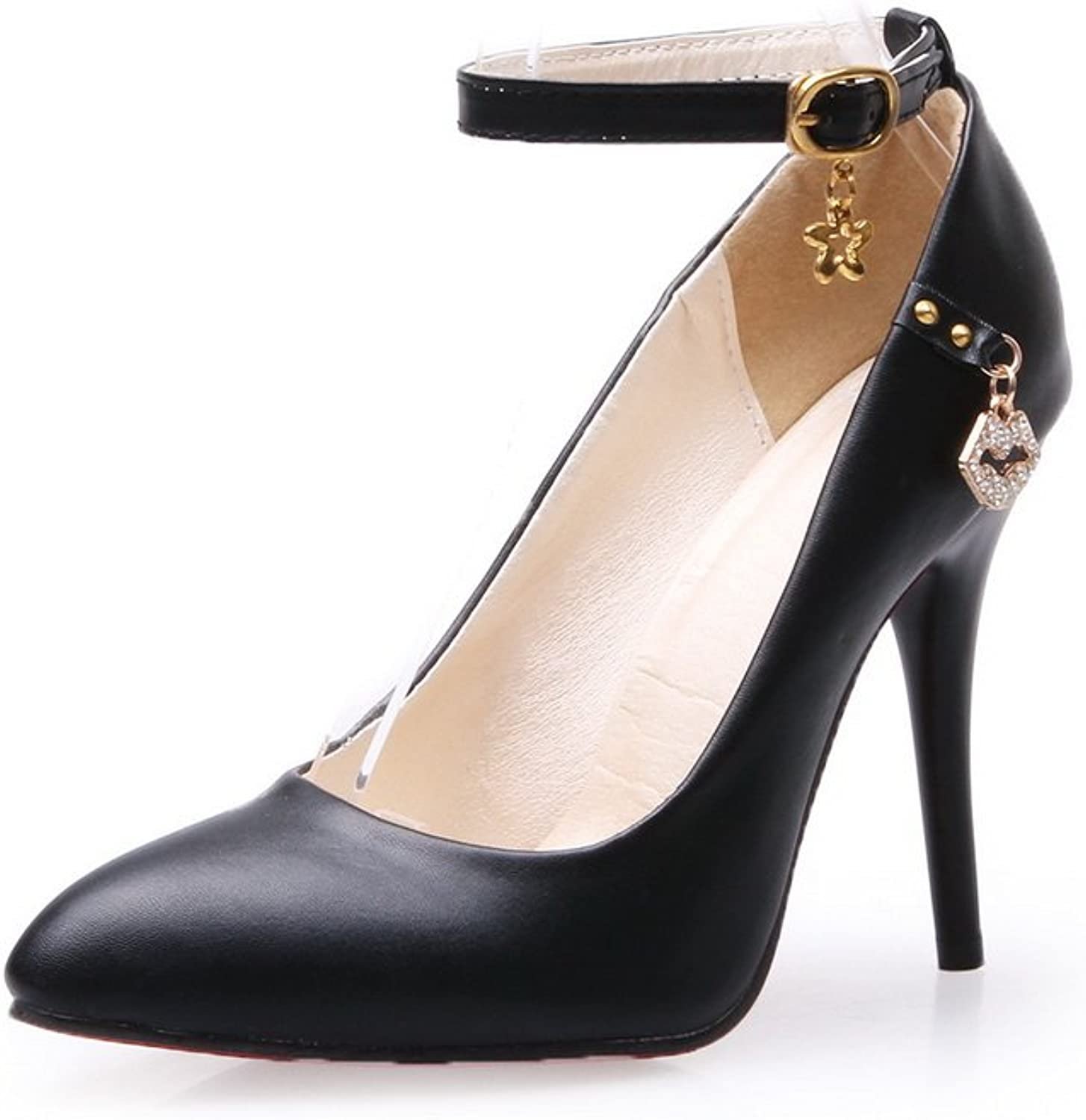 BalaMasa Ladies Buckle Pointed-Toe Charms Urethane Pumps shoes