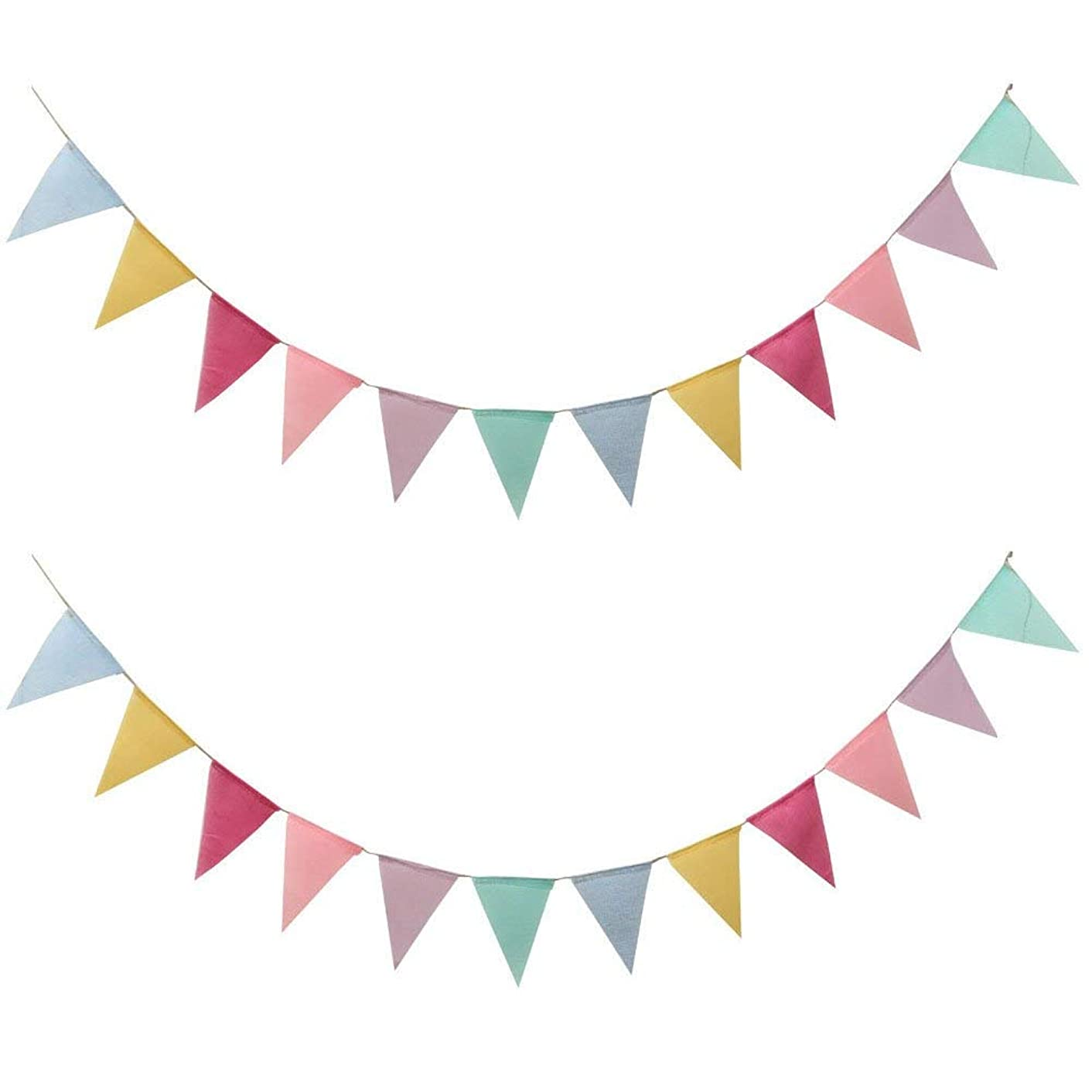 Auony 2 Pack Triangle Flag Banner, 24 PCS Multicolored Burlap Pennant Flag Bunting Banner for Wedding Birthday Party Decoration