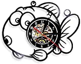 MBKYSZ Acuario Animal pez de Colores Reloj de Pared de Vinilo Record Reloj de Cuarzo de 12 Pulgadas Reloj Luminoso LED,Reloj del Dormitorio de la Sala de Estar (Sin luz)
