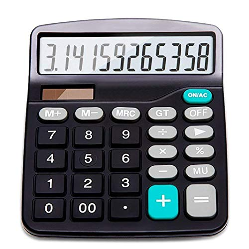 Calculator, 12-Digit Solar Battery Basic Calculator, Solar Battery Dual Power Office Calculator, with Large LCD Display and Large Buttons (Battery Included)
