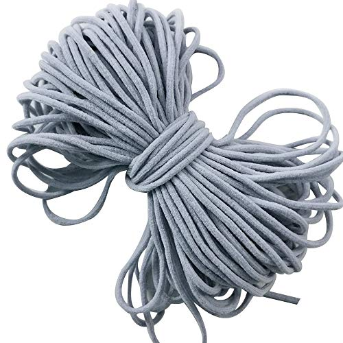 Gray Round Elastic String Cord Earloop Bands for Face Masks Making Supplies Sewing Craft Project Bracelet String Trim for Crafting Thin Soft & Stretchy 20YARD