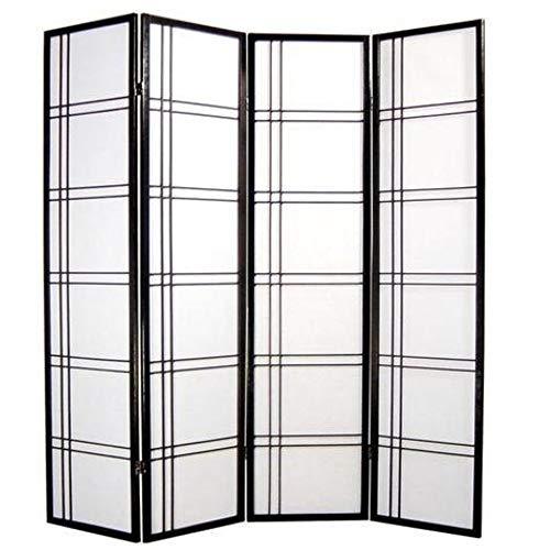 Fine Asianliving Paravent Japonais L180xH180cm 4 Panneaux Shoji Papier de Riz Noir - Double Cross Oriental...
