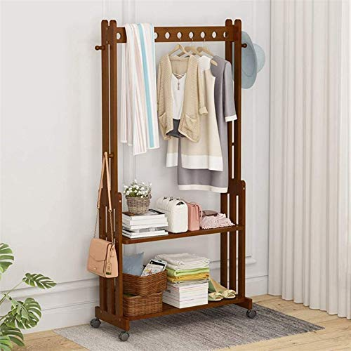 YWN Bamboo Garment Rack Coat Tree Free Standing, Hallway Coat And Shoe Rack On Wheels With 2 Tier Storage Shelves, Cl. (Size : 70CM)