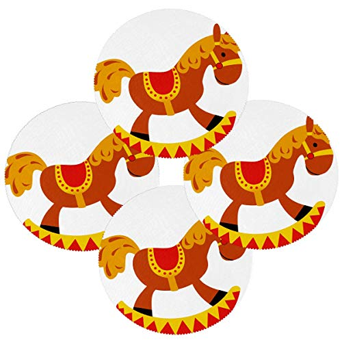 N\O Rocker Rocking Horse Horse Toy Set of 4 Round Placemats Heat-Resistant Table Mats Washable Polyester Place Mats for Kitchen Dining Decor