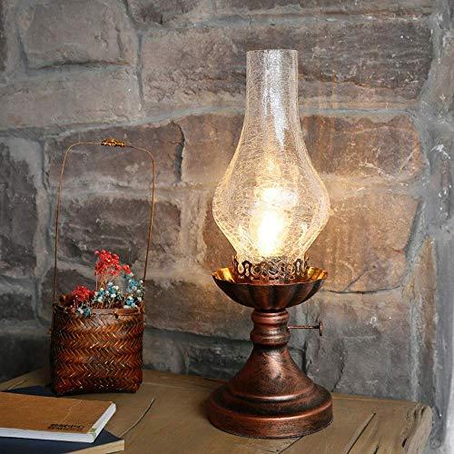 Desktop Light Traditionelle Retro Kerosin Öllampe Tischlampe Antikglas Gemütliche Holz Schreibtischleuchten Schlafzimmer Nachttisch Metall Tischlampe Dekorieren