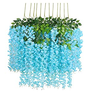 U'Artlines 12/24 Pack 3.6 Feet Artificial Fake Wisteria Vine Ratta Hanging Garland Silk Flowers String Home Party Wedding Decor
