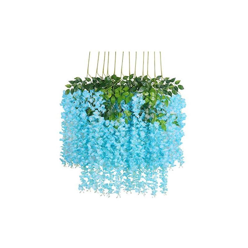silk flower arrangements u'artlines 12/24 pack 3.6 feet artificial fake wisteria vine ratta hanging garland silk flowers string home party wedding decor