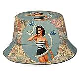 Sombreros de Pesca Bucket Hat Packable Pin-Up Girl Print Sun Hat Fisherman Hat Cap Outdoor Camping F...