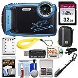 Fujifilm FinePix XP140 Shock & Waterproof Wi-Fi Digital Camera (Sky Blue) with 32GB + Battery + Case + Selfie Stick + Kit (Renewed)