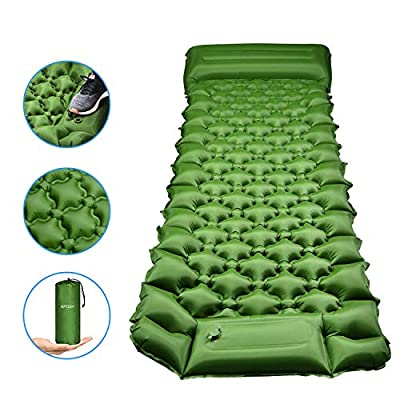 Eposy Sleeping Pad for Camping,Sleeping Mat with Air Pillow and Built in Pump,Ultralight Inflatable Camping Mat for Backpacking, Traveling, Hiking(Green)