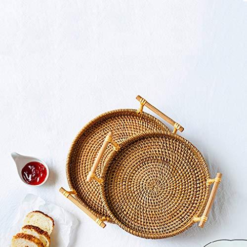 Bandeja Bandeja de taza de agua bandeja de té bandeja de frutas bandeja de la rota la manija del caramelo del diseño de la bandeja de té de la tarde Vajilla cesta de frutas de Hogares Bandeja Antidesl