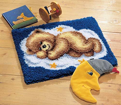 Myriad Choices Bär Knüpfteppich Kreuzstich Stickerei DIY Set 50x40cm Selber Machen Set Latch Hook Kit für Kinder und Erwachsene zum Selber Knüpfen