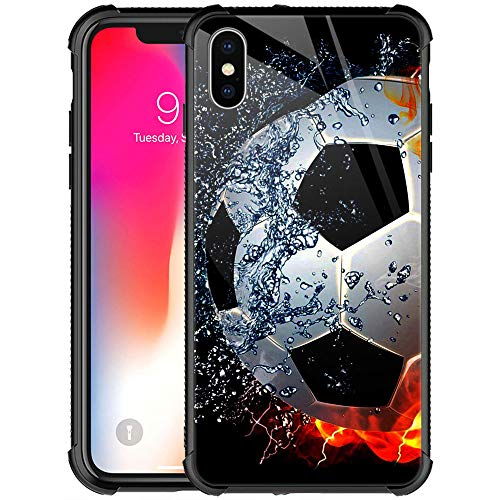 CARLOCA iPhone XR Case,iPhone XR Cases for Girls Women Boys,Sizzling Soccer Case Mate Pattern Design Shockproof Anti-Scratch Case for Apple iPhone XR 6.1-inch