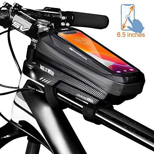 TEUEN Fahrrad Rahmentasche Wasserdicht Mountainbike Handytasche Fahrrad mit Touchscreen (passend bis zu 6,5 Zoll) Fahrradtasche Rahmen mit Handyhalterung Fahrrad Oberrohrtasche (schwarz)