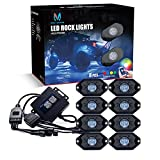 MICTUNING 2nd-Gen RGB LED Rock Lights with Bluetooth Controller, Timing Function, Music Mode - 8 Pods Multicolor Neon LED Light Kit