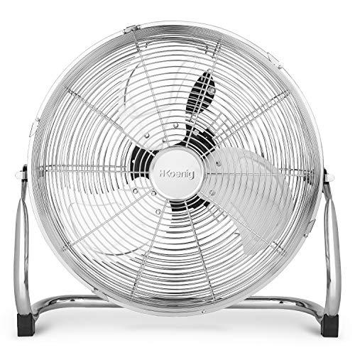 H.Koenig JOE32 - Ventilatore da pavimento silenzioso, design in metallo cromato, 45 cm, resistente, 3 velocità di ventilazione,100 W