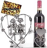 Brubaker Portabottiglie Vino Coppia su Swing - Cuore con Gli Amanti Sull'altalena - Regalo Romantico o Oggetto Deco - con Biglietto d'Auguri
