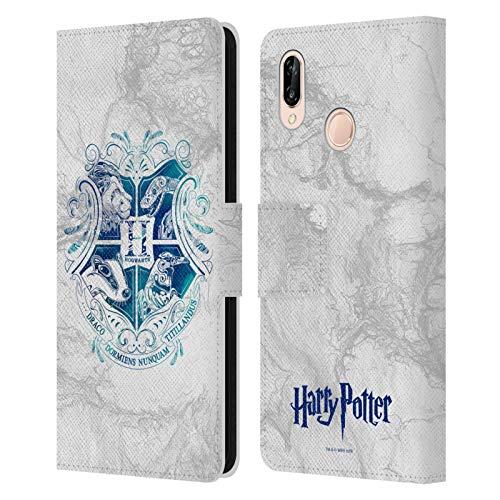 Head Case Designs Officiel Harry Potter Hogwarts Aguamenti Deathly Hallows IX Coque en Cuir à Portefeuille Compatible avec Huawei P20 Lite