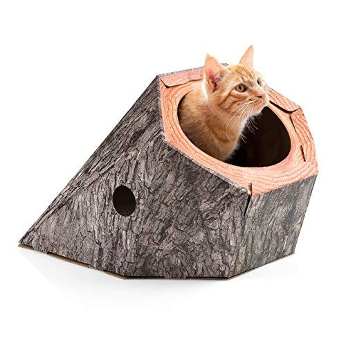 CanadianCat Company ®   Kratzbrett - Treehouse   Katzenhöhle aus Pappe mit großem Eingang   Baumhöhle für Katzen mit Kratzpappe