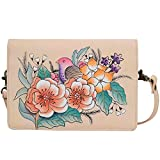 Anna Anuschka Leather Wallet Crossbody Purse Organizer Wallets with Strap and Many Pockets (Vintage Garden)
