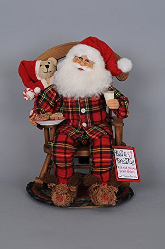 Karen Didion Originals Midnight Snack Rocking Chair Santa Figurine, 14 Inches - Handmade Christmas Holiday Home Decorations and Collectibles