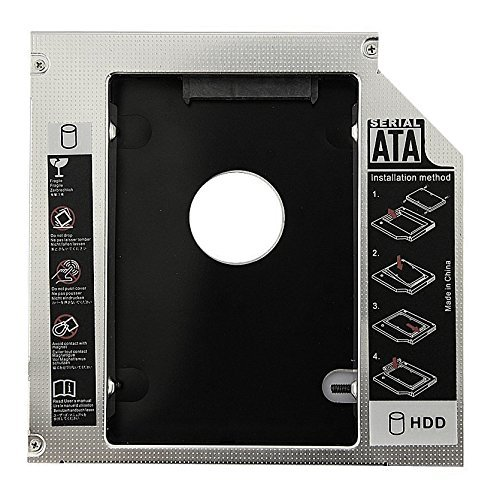 """SODIAL(R) Alluminio universale 12,7 mm SATA 2.0 seconda custodia HDD Caddy 2.5 """"HDD Custodia SSD Custodia per Notebook 12.7mm ODD DVD-ROM Optibay"""